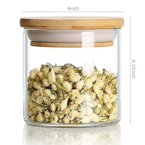 DecentGadget 760ml Clear Borosilicate Glass Airtight Canister with Bamboo Lid and Silicone Sealing Ring Storage Jar for Candy Tea Cookie Nuts Cereal //Löschen Sie Borosilikatglas-luftdichter Kanister mit Bambusdeckel und Silikon-Dichtungs-Ring-Speicher-Glas - Tee-ring-cookies
