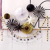 SUNBEAUTY Decoration Noir Blanc Or Lot de 10 Rosaces Papiers Pompon Doree Suspension Etoile pour Deco Paques Bapteme Fete