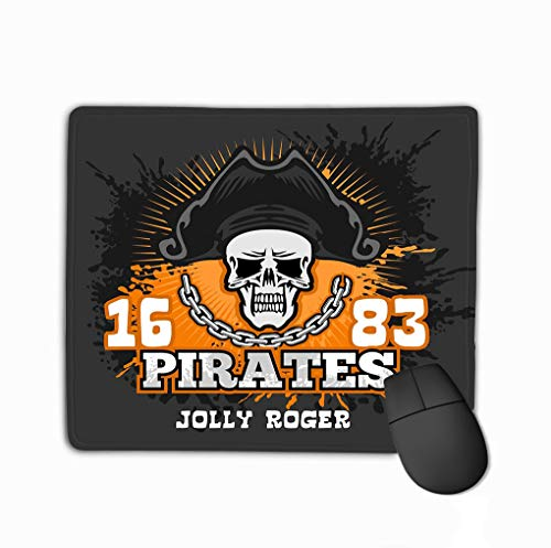 Mouse pad skull pirate hat jolly roger badges logos t shirt prints vector illustration steelserieskeyboard (White Pirate Shirt)