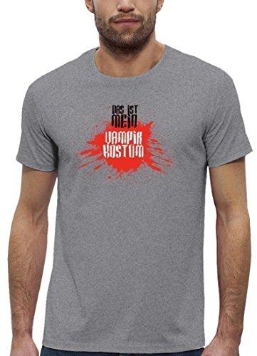 Fasching Karneval Premium Herren T-Shirt Bio Baumwolle Das ist mein Vampir Kostüm 2 Heather Grey