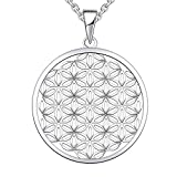 JO WISDOM Damen Kette Blume des Lebens Silber 925 Halskette Anhänger ( Weißgoldfarbe) (Weißgoldfarbe)