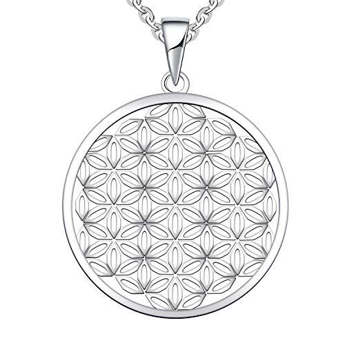 JO WISDOM Damen Kette Lebensblume Silber 925 Halskette Anhänger Blume des Lebens amulett ( Weißgoldfarbe)