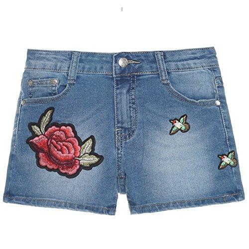Kinder Mädchen Kurze Hose Bermuda Shorts Sommer Capri Pump Pants Jeans 21285, Farbe:Blau;Größe:164