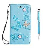 Grandoin Galaxy Note 8 Hülle, Bling Glitzer Glitter Handyhülle im Brieftasche-Stil für Samsung Galaxy Note 8 Handytasche PU Leder Flip Cover Case Schutzhülle Etui Case (Blau)
