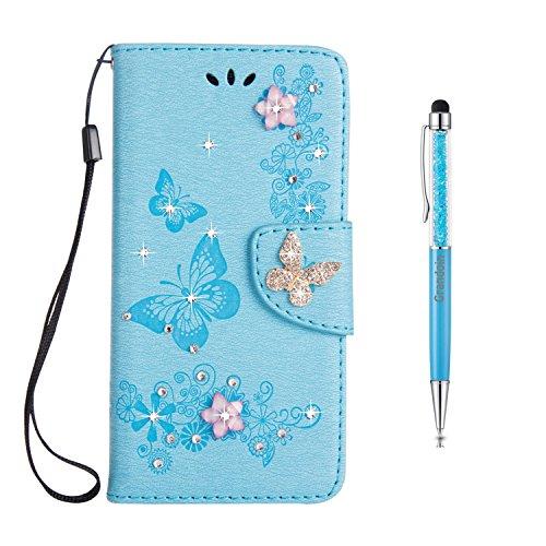 8 Hülle, Bling Glitzer Glitter Handyhülle im Brieftasche-Stil für Samsung Galaxy Note 8 Handytasche PU Leder Flip Cover Case Schutzhülle Etui Case (Blau) ()
