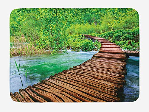 JIEKEIO Landscape Bath Mat, Nostalgic Hand Made Oak Pathway Over The Creek Water Heads into South Europe, Plush Bathroom Decor Mat with Non Slip Backing, 23.6 W X 15.7 W Inches, Green Brown