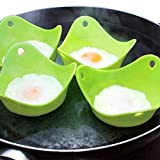 Twinkling Stars 4 Pack Silicone Egg Poachers Steamer Light Green Poaching Pods Baking Mold Cups