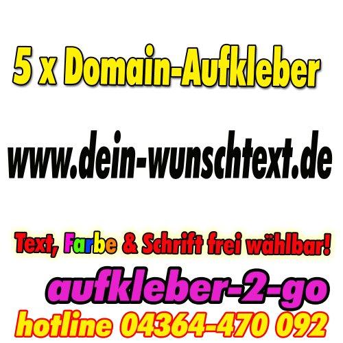 Preisvergleich Produktbild 100cm, 5 Stück Domainaufkleber, Text & Farbe frei wählbar, www.dein-wunschtext.de