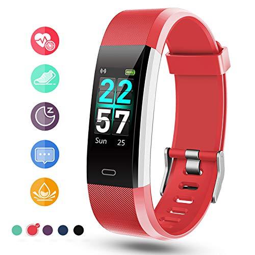 Glymnis Fitness Armband Fitness Tracker IP68 Wasserdicht Smartwatch Farbbildschirm Pulsuhren Aktivitätstracker und Schrittzähler mit Pulsmesser 0,96 Zoll für Damen Herren (Rot)