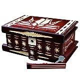 Holzkiste mit Geheimversteck und Deckel Schmuckkästchen für Damen Trickbox Holz geschnitzt 15 x 11 x 8 cm Dunkelrot