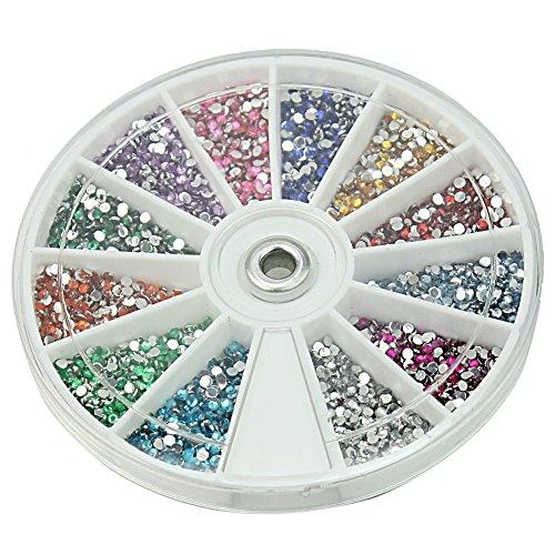 Carrousel de 3600 pcs Tips Strass Demi-tour Nail Art Ongles Décoration Manucure