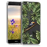 kwmobile Funda para Huawei P8 Lite (2017) - Carcasa de [TPU] para móvil y diseño de tucán en [Verde/Negro/Transparente]