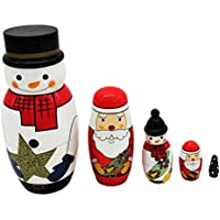 KAIMENG Snowman Russian Stacking Dolls Tema de Navidad Cute Nesting Dolls Collection Toy 5Pcs