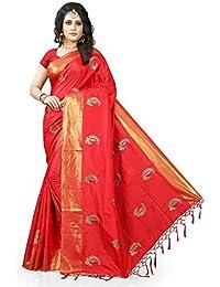 Gaurangi Creation Art Silk Saree With Blouse Piece(Kf1001_Red Free Size)