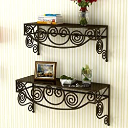 Home Sparkle Mild Steel Rack (Set of 2, Brown)