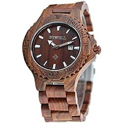 reloj de madera hombre Sannysis Reloj de pulsera de Madera natural con caja Marrón