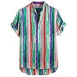 BHYDRY Herren Baumwolle gedruckt Hawaii Stehkragen Kurzarm lose Shirts(X-Large,Grün