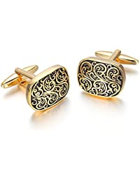 K Mega Jewelry Vintage Cufflinks for Mens Jewelry Shirt Cufflinks, Golden, Flower Pattern C001