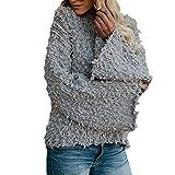 Mantel Damen,Damen Plüschjacke Aufflackern-Hülsen-Fester O-Ansatz-Pullover-Kirsche Kaschmir-Bluse,❤️Binggong Damen Mantel