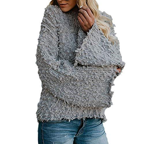 Damen Oberteile Tshirt Pullover Mädchen Pullover Sweatshirt Sexy Sweatshirt Cardigan Casual Knit Strickpullover Top Damenmode Aufflackernhülse Solid Sweater Kirsche Cashmere Bluse(Grau,XL)