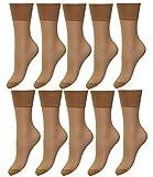 EveryHead Riese 10er Pack Feinsöckchen Damensöckchen Sparpack Markensöckchen Socken Söckchen Komfort für Damen (RS-11227-S18-DA1-10x842-OS) in 10er Sand, Größe OS inkl Hutfibel