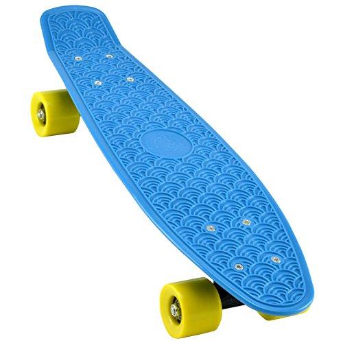 "Skateboard Retro Penny Long-Board Komplett Mini-Cruiser Rollbrett Fun Deck 22"" in blau"