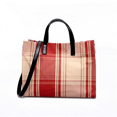 LANGUANGLIN Handtasche Weibliche Mode Leinwand Plaid Big Bag Casual Wilde Schulter Umhängetasche,A - Wild Plaid