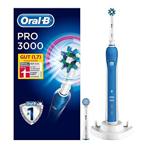 Oral-B PRO 3000 Elektrische Zahnbürste (wiederaufladbare Zahnbürste mit Timer, CrossAction Aufsteckbürste, gesunde Zähne, schützt vor Karies, Mundgeruch und Zahnfleischentzündung, powered by Braun)