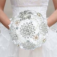 29c5cbc3d369 Decdeal 18CM Mano Spilla da Sposa Diamante Bouquet da Sposa in Raso Rosa  Fiore con Strass