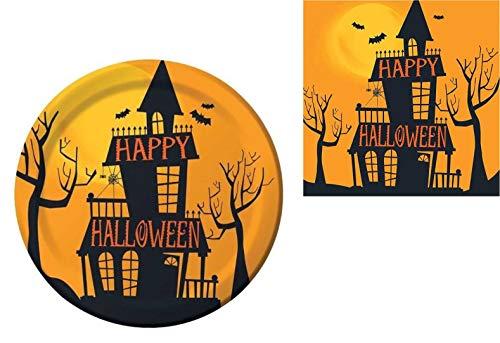 Einweggeschirr-Set - für 8 Personen - Halloween-Partyzubehör - inklusive Papp-Dessertteller, Servietten, Becher Haunted Halloween