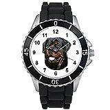 Rottweiler - Motiv Uhr Unisex mit Silikonarmband (schwarz)
