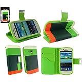 Emartbuy® Samsung Galaxy S3 Mini I8190 Luxury Desktop-Ständer Wallet Fall / Abdeckung / Pouch Blocks Grün / Orange / Weiß Mit Credit Card Slots