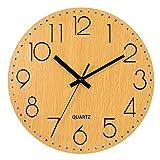 LENRUS 12 Zoll/30CM Hölzern Wanduhr Küchenuhr Nicht-tickende Uhr für die Küche Home Office Wohnzimmer und Schlafzimmer (Holzfarbe)