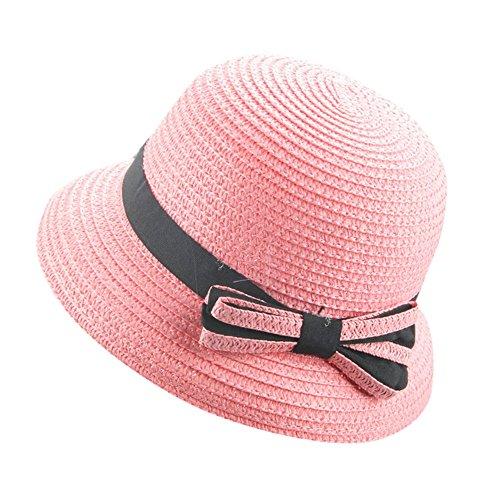 owknot Fedora Hut, Baby Kinder Mädchen Strand Sonnenhut Niedlich Mütze UV-Schutz Faltbarer Strohhut Trilby Gangster Hut mit Sonnenschutz breite Krempe (Rosa) ()