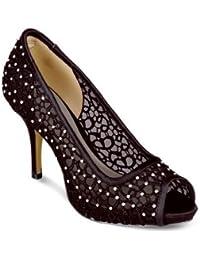 Fantasia - Chaussure à Talon Femme Bout Ouvert Paillette Diamant Fête Court - Noir, 8 UK / 41 EU