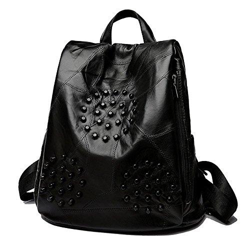 Doppel Schulter Rucksack dual Schulter tide neue stilvolle Schaffell und vielseitig, einfach und lässigen Taschen Schwarz