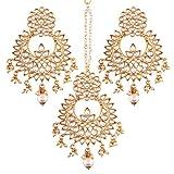 #10: I Jewels Gold Plated Kundan & Pearl Earring Set with Maang Tikka for Women (TE2456W)