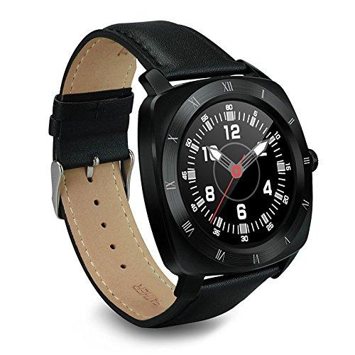 Lemumu Smart Watch Display Lederband Bluetooth Smartwatch Unterstützung Pulsmesser für iOS Android Smartphone, Schwarz Band Windows Mobile-telefon