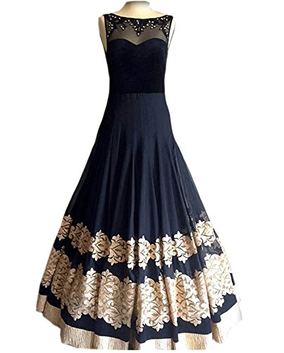 Royal Export Women\'s Black Georgette Anarkali Semi-Stitched Gown