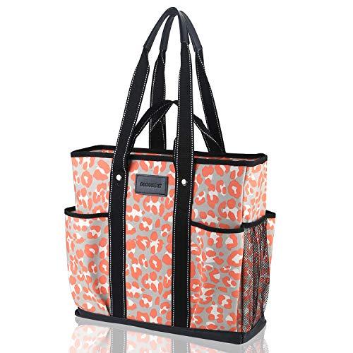 DEMOMENT Canvas Tote Bag Utility Teacher Tote Bag Handtasche Schultertasche für Schule, Büro, Reisen, Strand, Übernachtung, Pink (pink leopard), Large -