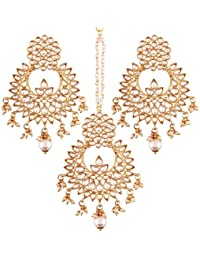 I Jewels Gold Plated Kundan & Pearl Earring Set With Maang Tikka For Women (TE2456W)