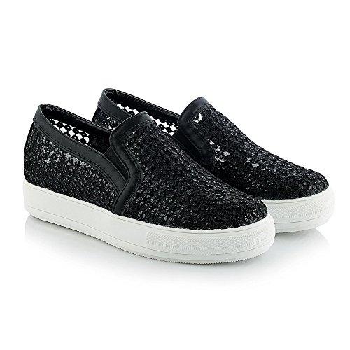 AgooLar Damen Ziehen Auf Niedriger Absatz Blend-Materialien Rein Rund Zehe Pumps Schuhe Schwarz
