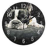 Domoko Home Decor Französische Bulldogge Schwarz Welpe Hund Acryl, Rund Wanduhr Geräuschlos Silent Uhr Kunst Wohnzimmer Küche Schlafzimmer