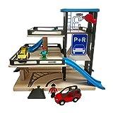 SH-Flying garage de stationnement, jouet en bois de voie ferrée de garage de jouet de garage de parking en bois de garage de 3 étages pour 3-6-10 ans