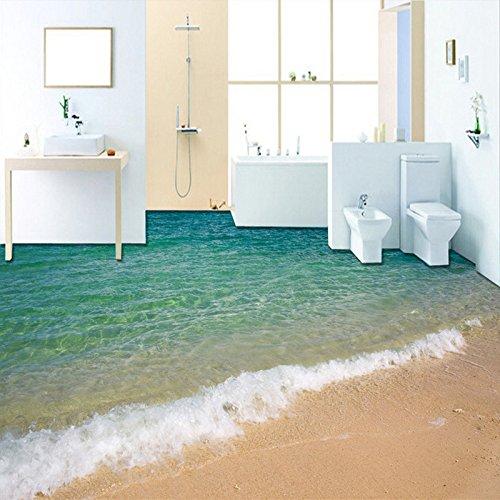 Wapel Benutzerdefinierte Foto Tapete 3D Bodenfliesen Wandmalereien Strand Meerwasser, Malerei Tapete Wohnzimmer Badezimmer PVC 300 Cmx210Cm