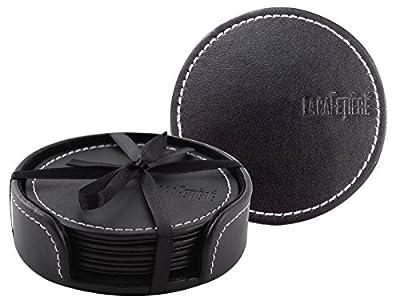 Creative Tops la Cafetière en relief simili cuir Dessous-de-verre avec support, Lot de 4, Noir