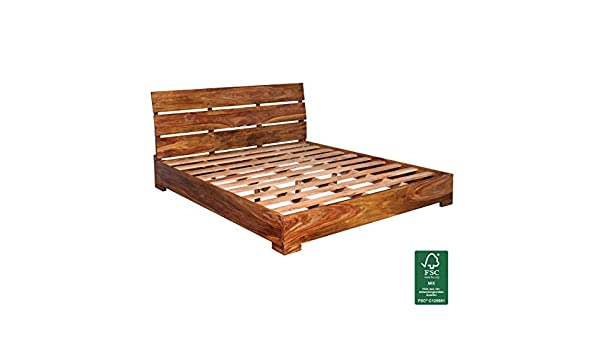 Wohnling Sheesham Solid Wood Slatted Double Bed Frame 180 X 200 Cm Amazon De Kuche Haushalt