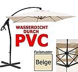habeig LUXUS Ampelschirm 2,5 x 2,5 m quadratisch WASSERDICHT durch PVC Schirm 250x250cm Sonnenschirm (Beige #44)