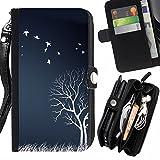 Graphic4You Leaves Falling From Tree Autumn Theme Design Zipper Brieftasche mit Strap Hülle Tasche Schale Schutzhülle für Samsung Galaxy S6 Edge