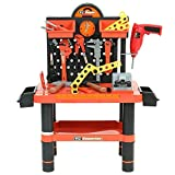 Kids 52pc Toy Workbench Play Set with Tools - Childrens Creative Building Workshop Pretend Play Kit